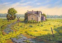 Landschaft, Bahnhof, Malerei, Stilllegen