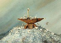Aquarellmalerei, Fantasie, Surreal, Porzellan