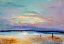 Strand, Licht, Abstand, Malerei