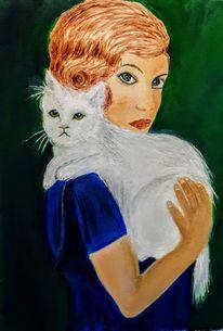 Ölmalerei, Katze, Malerei,
