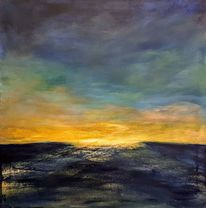 Meer, Sonnenuntergang, Licht, Malerei