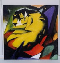 Franz marc, Acryl auf leinwand, Tiger, Malerei