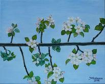 Malerei, Apfel, Blüten, Pflanzen