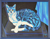 Katze, Stillleben, Blau, Malerei
