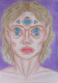 Vorstellung, Zeichnung, Augen, Fragmentierung