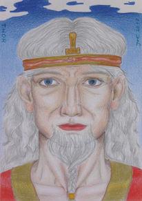 Mythologie, Polychromos, Zeichnung, Thor