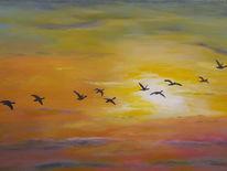Vogel, Himmel, Wolken, Malerei