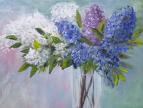 Vase, Blumen, Flieder, Malerei