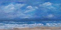 Welle, Wolken, Strand, Meer