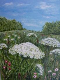 Blumenwiese, Blumen, Himmel, Baum