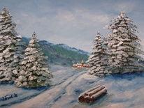 Winter, Dorf, Schnee, Baum