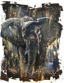 Elefant, Blau, Braun, Wildtier
