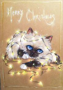 Katze, Schnee, Weihnachten, Zeichnungen