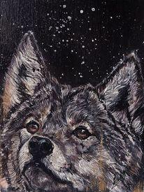 Acrylmalerei, Wolf, Wildtier, Malerei