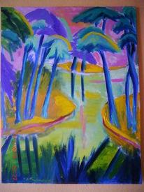 Ölmalerei, Expressionismus, Landschaft, Malerei