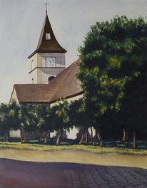 Brück, Kirche, Aquarellmalerei, Landschaft