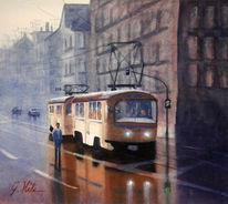 Straßenbahn, Leipzig, Aquarell