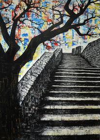 Treppe, Steintreppe, Baum, Malerei