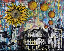 Blumen, Kirche, Sonnenblumen, Stadt