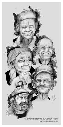 Rückblick, Old people, Portrait, Illustration