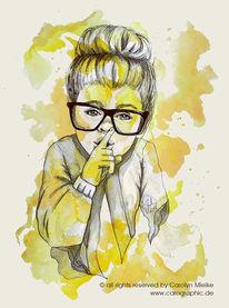 Kleines mädchen, Karikatur, Dutt, Stille