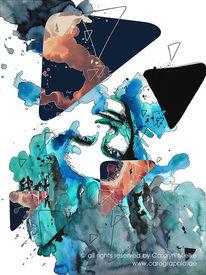 Portrait, Triangel, Abstrakt, Mischtechnik