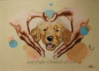 Hund, Behütet, Acrylmalerei, Hadesl