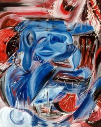 Acrylmalerei, Menschen, Rot, Azteke