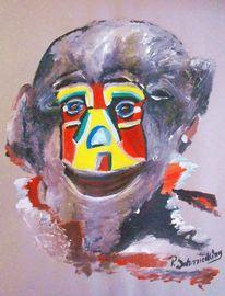 Malerei, Acrylmalerei, Braun, Maske