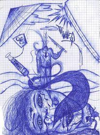 Surreal, Kopf, Blau, Zeichnungen