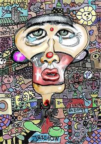 Leben, Digital, Menschen, Karikatur