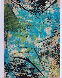 Spachtel, Abstrakt, Acrylmalerei, Mischtechnik