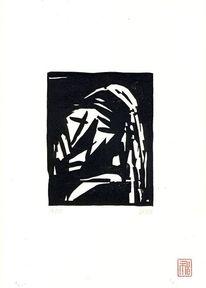 Linolschnitt, Portrait, Perlenohrring, Scarlett johansson