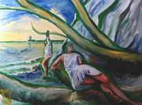 Menschen, Baum, Strand, Malerei