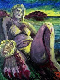 Strand, Huflattich, Dame, Malerei
