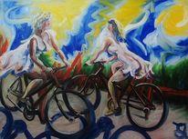 Girls, Fahrrad, Dame, Malerei