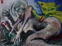 Sonne, Frau, Wolf, Malerei