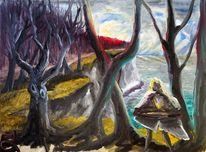 Baum, Ufer, Ostsee, Malerei