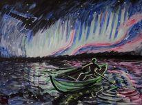 Menschen, Nordlicht, Boot, Malerei