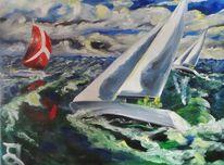 Segelboot, Sommer, Segel, Malerei