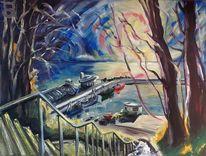 Hafen, Treppe, Sonne, Malerei