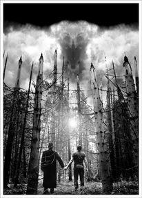 Druck, Schwarzweiß, Licht, Wald