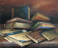 Stillleben, Buch, Alte bücher, Stille