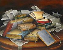 Bücher, 50x40 cm, Alte bücher, Stillleben