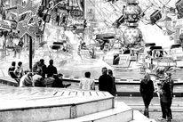 Fest, Zeichnung, Rummelplatz, Fahrbetriebe
