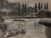 Malerei, Zeichnung, Tusche, Landschaft