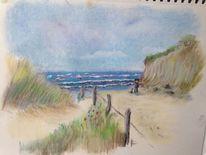 Zeichnung, Kreide, Landschaft, Pastellmalerei