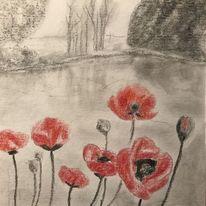 Wasser, Buntstiftzeichnung, Landschaft, Zeichnungen