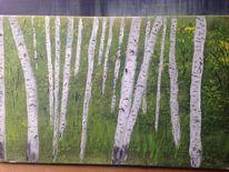 Landschaft, Malerei, Acrylmalerei, Birken