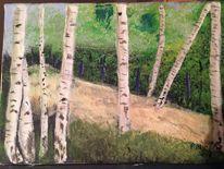 Acrylmalerei, Landschaft, Malerei, Birken